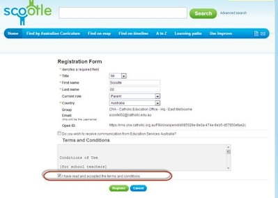 SCOOTLE Registration Page